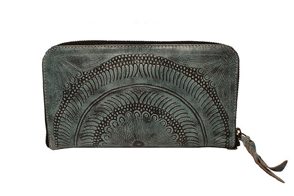 Leaders in Leather Moroccan Single Zip Around Wallet in Color Vaquetta Aqua - Lufli Boutique