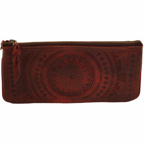 Leaders in Leather Moroccan Tooled Leather Wristet Oxblood | Lufli.com