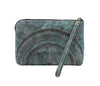 Leaders in Leather Moroccan Leather Wristlet Clutch in Aqua back of clutch at Lufli Boutique