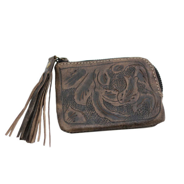 Leaders in Leather Sheridan Tassel Wallet - Brown front of wallet