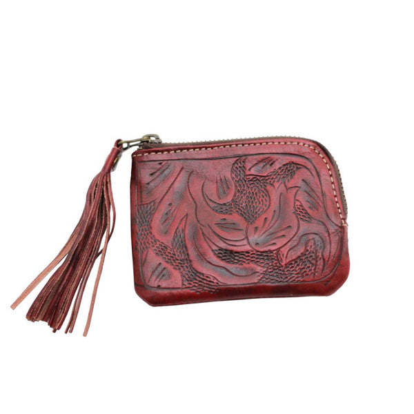 Leaders in Leather Sheridan Tassel Wallet - Oxblood Red front of wallet