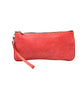 Leaders in Leather Vintage Wristlet in Antique Coral Red Front of Wristlet