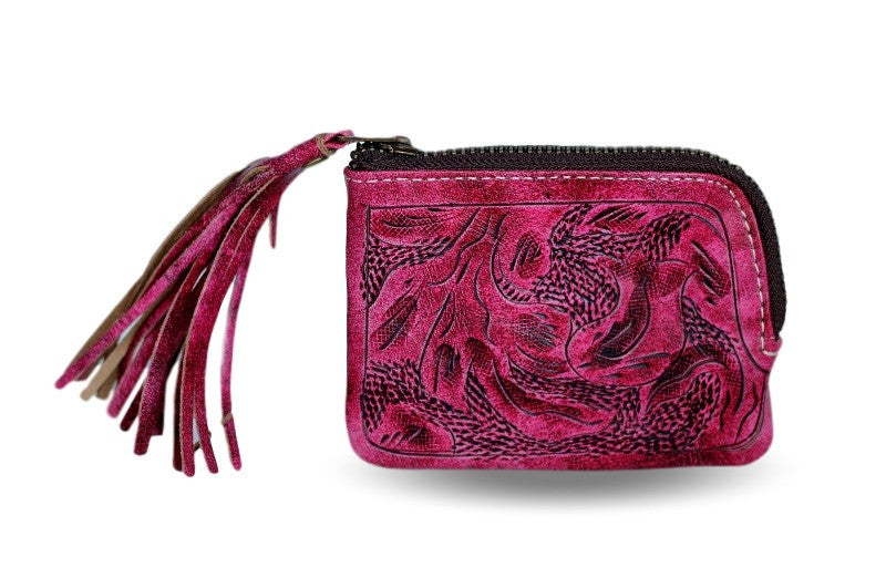 Sheridan Tooled Tassel Small Wallet in Vaquetta Rose Outside of Wallet