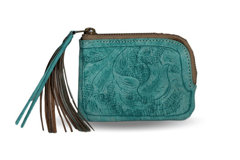 Sheridan Tooled Tassel Small Wallet in Vaquetta Teal front of wallet