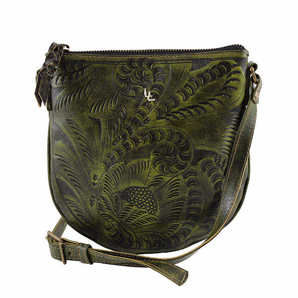 Leaders in Leather Vaquetta Crossbody in Forrest Green - Lufli Boutique