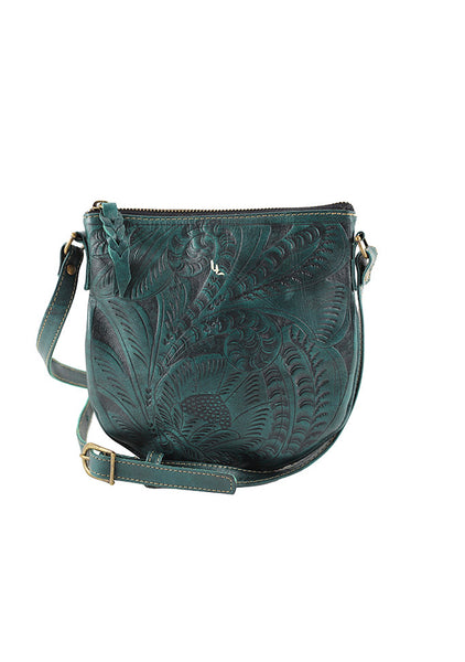 Leaders in Leather Vaquetta Leather Crossbody Turquoise