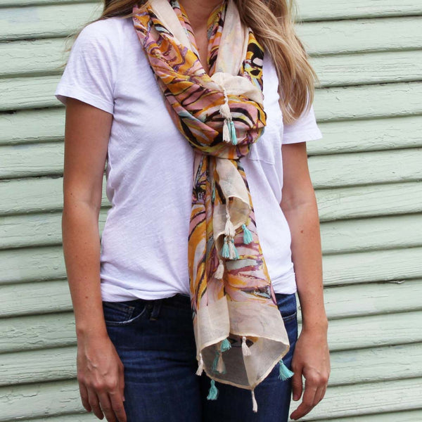 Leaf Print Tassel Scarf - Orange