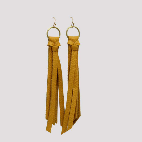 Genuine Leather Tassel Earrings in Mustard Yellow at Lufli Boutique