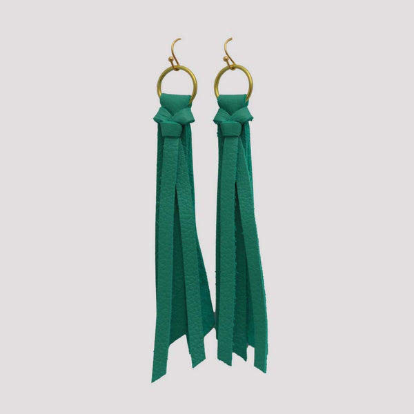 Genuine Leather Tassel Drop Earrings in Turquoise at Lufli Boutique