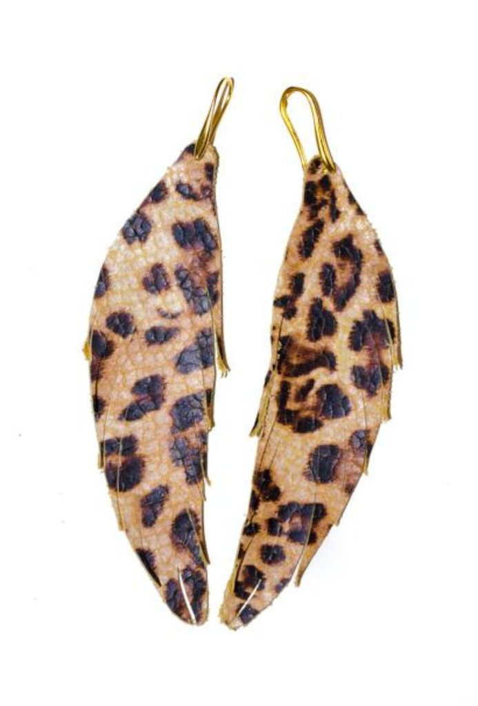 Short Feather Leather Earring - Leopard