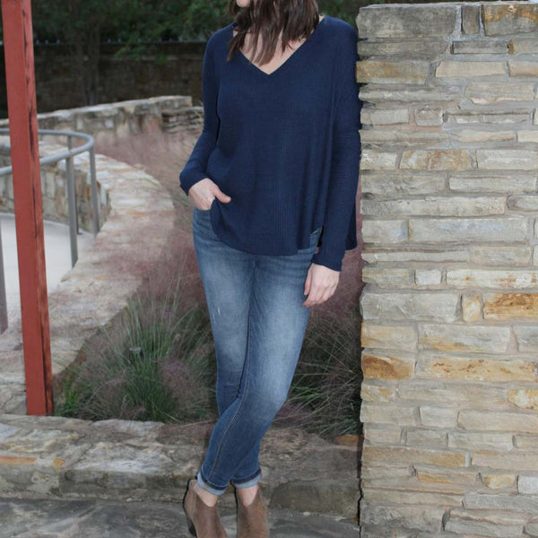 Long Sleeve Soft Brushed Thermal V-Neck Top in Navy front of shirt on model