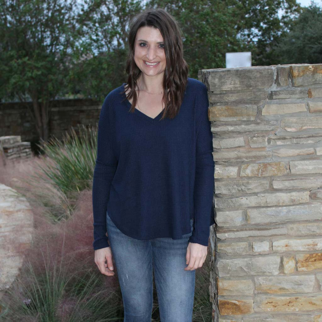 Long Sleeve Soft Brushed Thermal V-Neck Top - Navy front of shirt