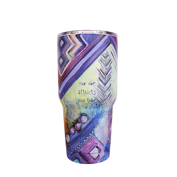 Lufli Bops Vibe Attracts Your Tribe 30 ounce Tumbler Purple design
