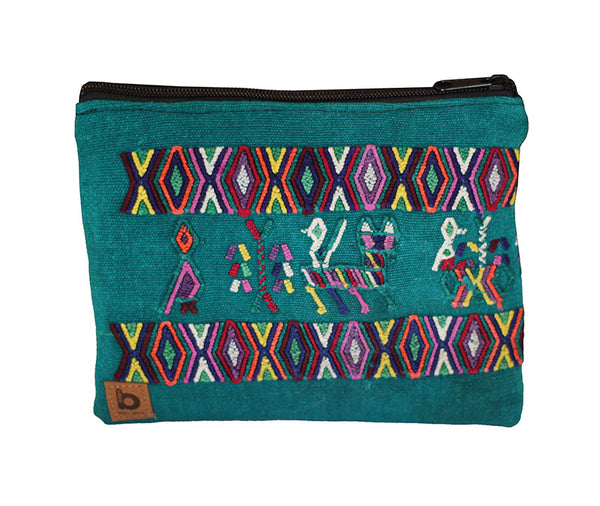 Bops Guatemala Artisan Handmade Green Travel Pouch Bag in Green Front of Pouch at Lufli Boutique