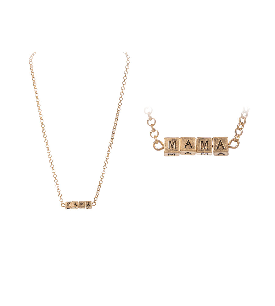 MAMA Block Letter Necklace - Gold