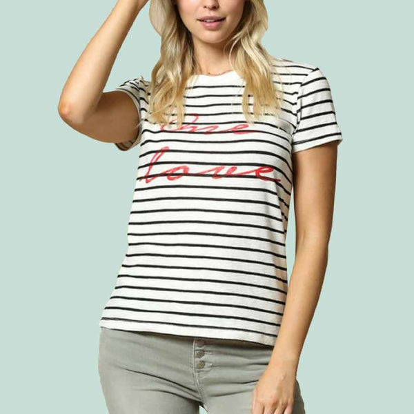 One Love Striped Short Sleeve Graphic Tee in Black Off-White Stripe close up view at Lufli Boutique
