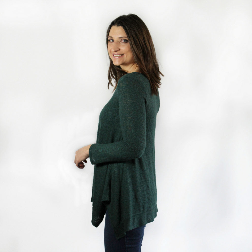 Brushed Hatchi Flowy Long Sleeve Top Forest Green Side of Model