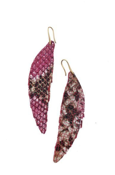 Short Feather Leather Earring - Pink Snake