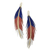 Red White and Blue Short Feather Leather Earring - Sparkle
