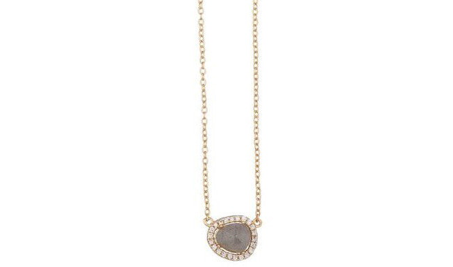 Shashi Jewelry Nora Pave Necklace in Yellow Gold Labradorite up close