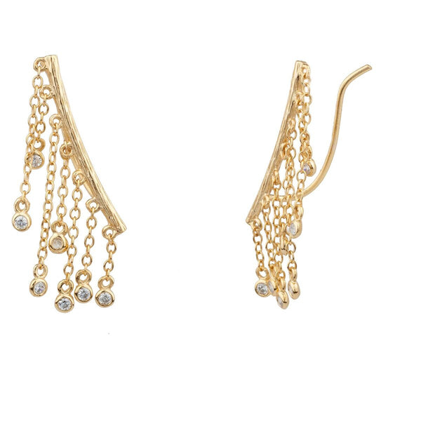 Shashi Jewelry Petra Climber Earrings in Yellow Gold