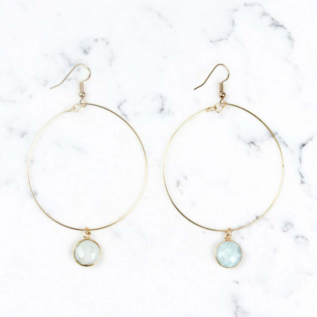 Shira Melody Callie Hoop Amazonite Stone Drop Earrings | Lufli Boutique