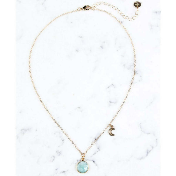 Shira Melody Emery Necklace in Amazonite Gold at Lufli Boutique