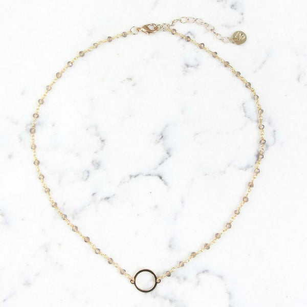 Shira Melody Luna Circle Necklace in Gold and Champage at Lufli Boutique