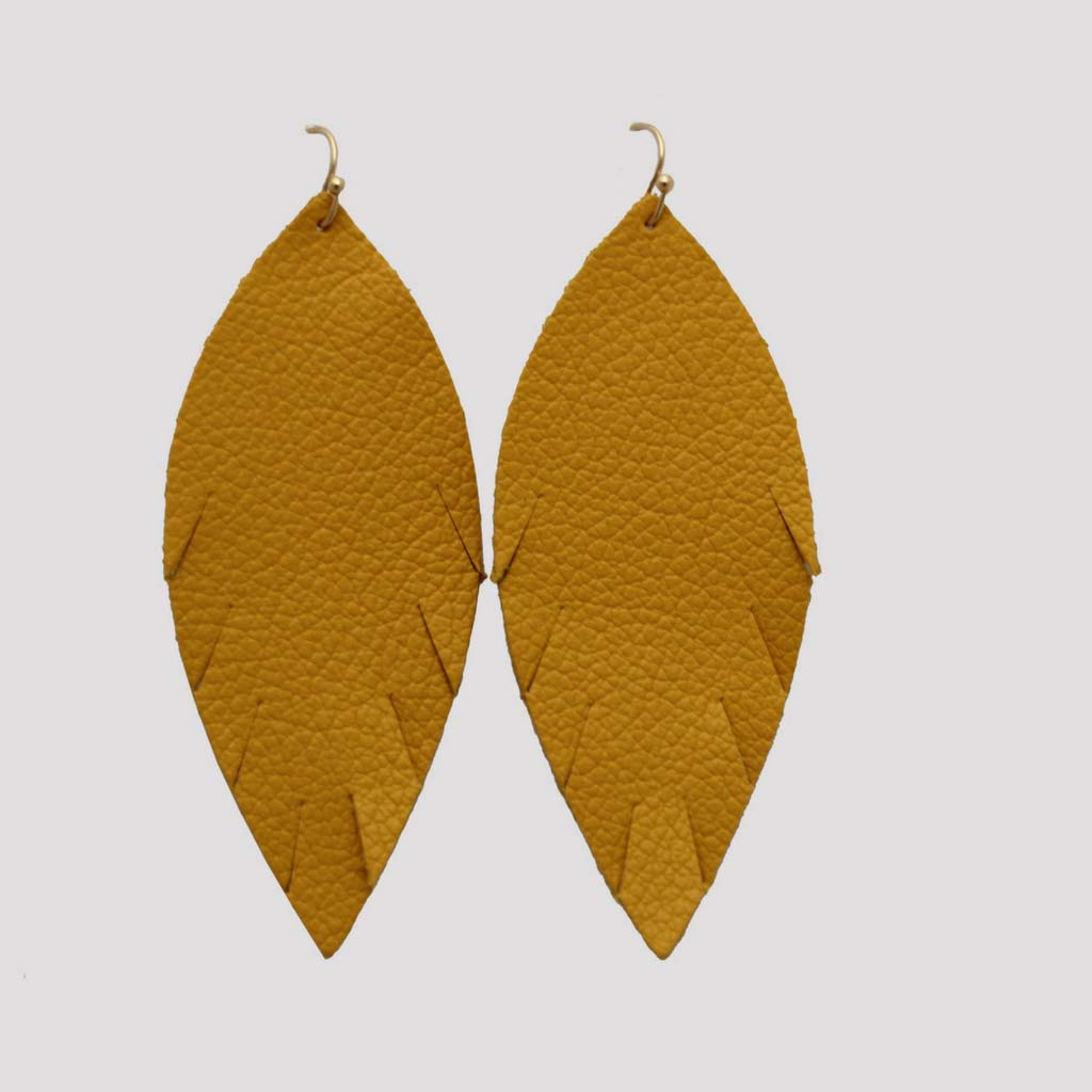 Genuine Leather Single Feather Earrings in Mustard Yellow at Lufli Boutique