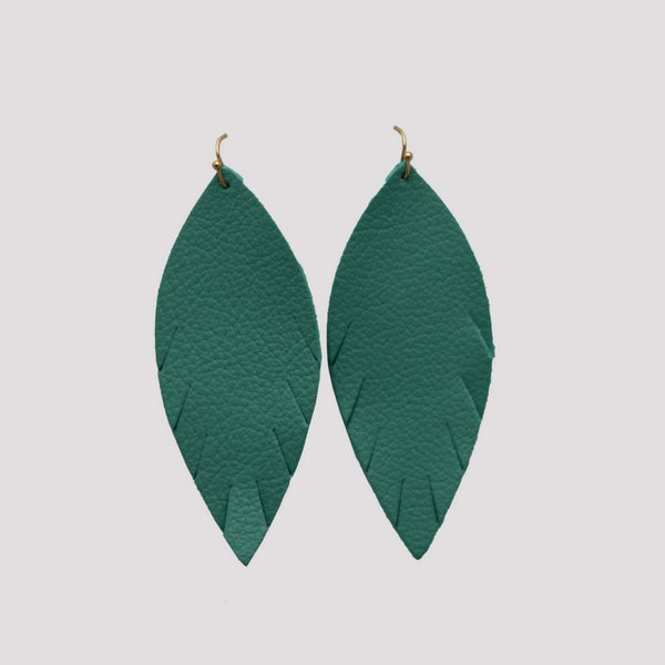 Genuine Leather Single Feather Earrings in Turquoise at Lufli Boutique
