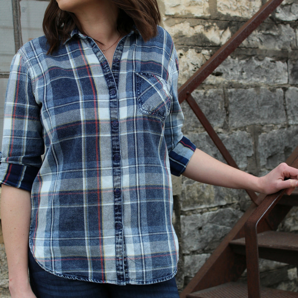 Women's Distressed Plaid Button-down Shirt in Blue, style shot at Lufli Boutique