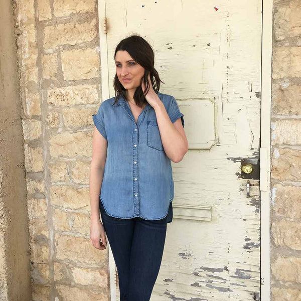 Short Sleeve Oversized Chambray Top