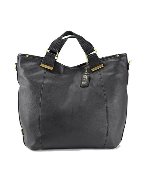 Steve Madden Noho Genuine Leather Tote Bag in Black Front of the Bag