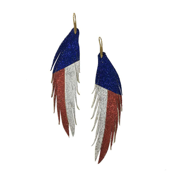 Red White and Blue Short Feather Leather Earring