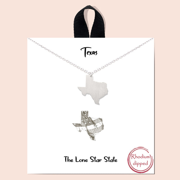 Texas Lone Star State Charm Necklace - Rhodium