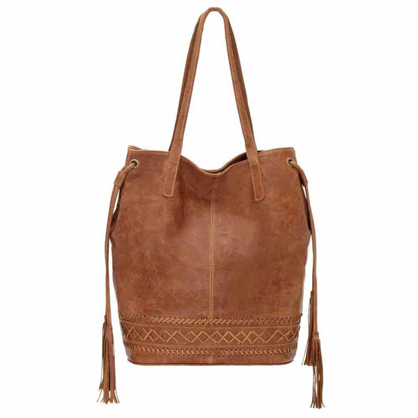 Truelu Blake Bucket Tote Bag in Clay front of bag at Lufli Boutique
