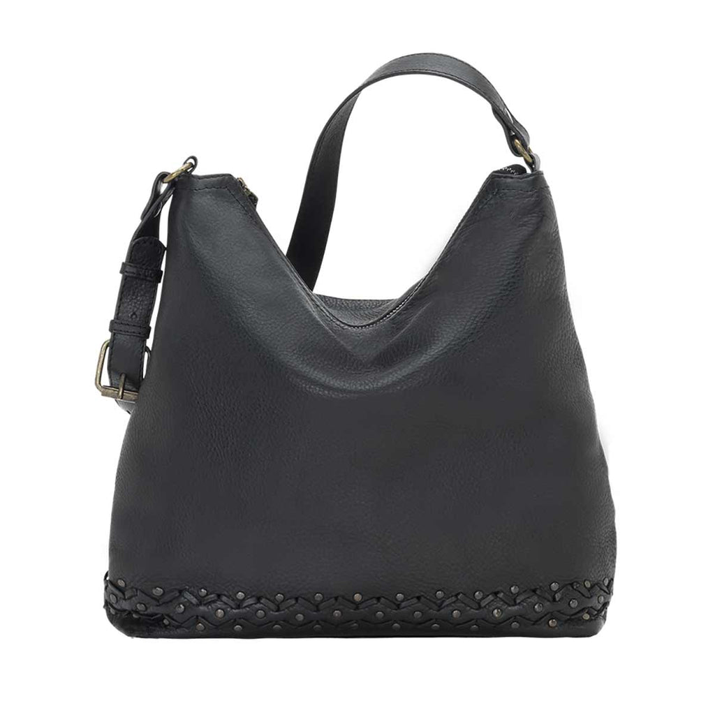 Truelu Emily Hobo Shoulder Bag in Black front of bag at Lufli Boutique