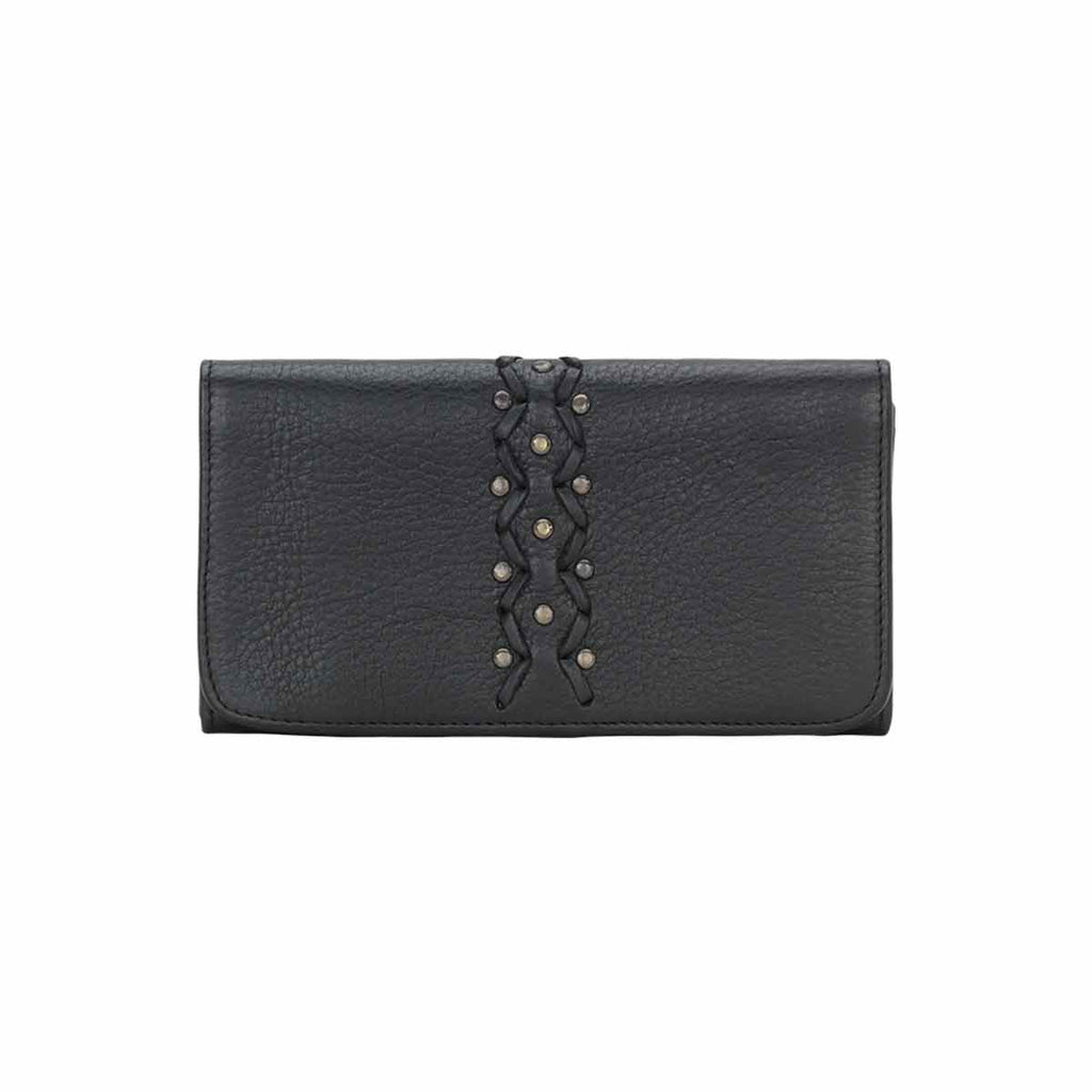Truelu Emily Leather Wallet in Black at Lufli Boutique