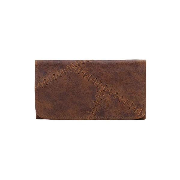 TrueLu Harlow Leather Wallet in Chestnut Brown front of wallet at Lufli Boutique