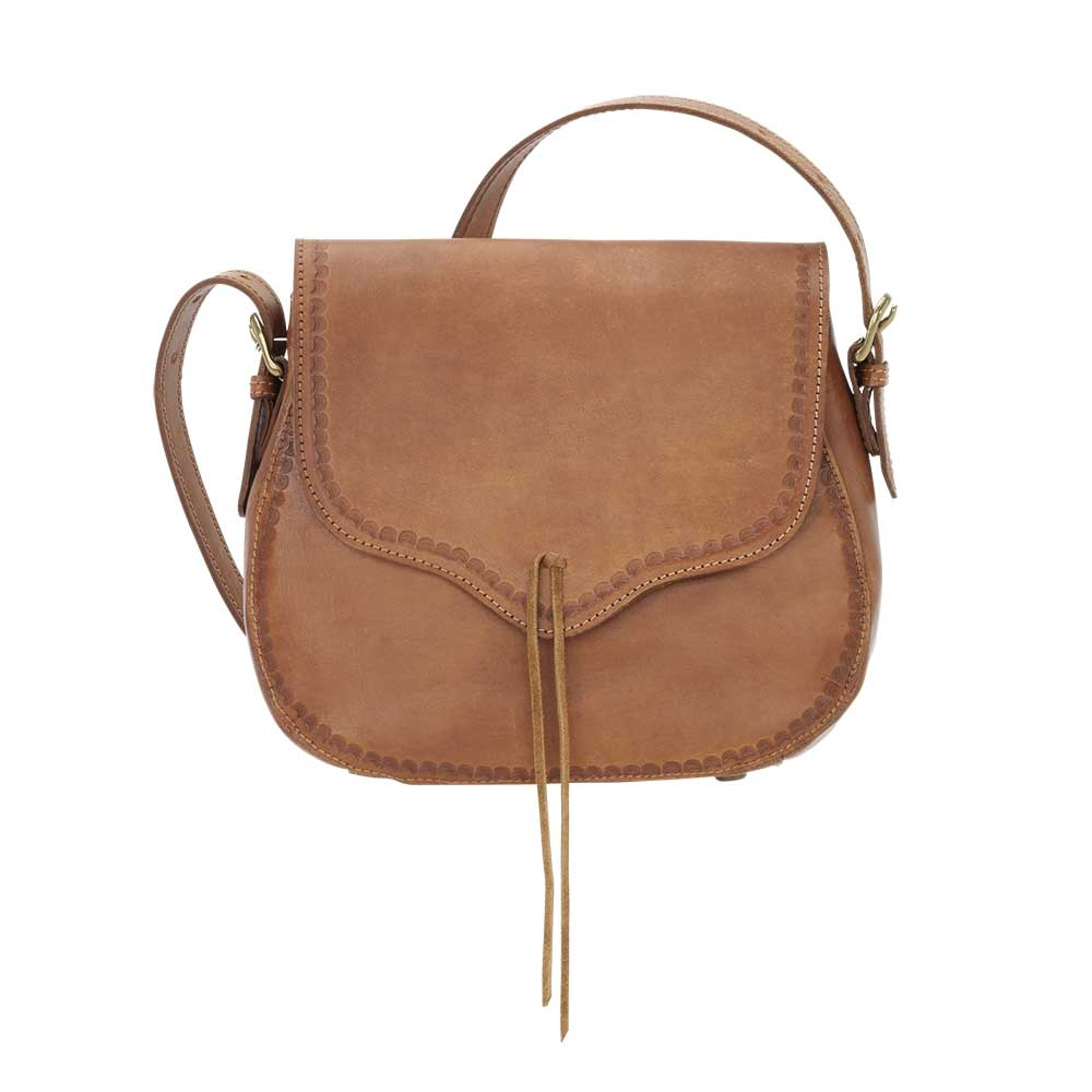 TrueLu Meadow Crossbody Bag in Tan front of bag at Lufli Boutique