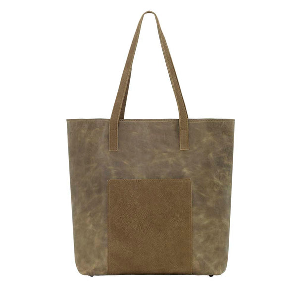 TrueLu Olivia Leather Tote Bag Olive Green front of bag at Lufli Boutique