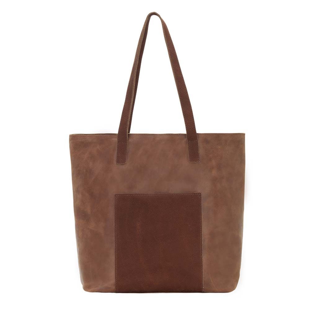 TrueLu Olivia Leather Tote Bag Rust front of bag at Lufli Boutique