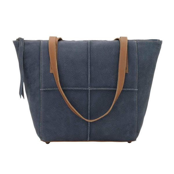 TrueLu Riley Leather Tote Bag Denim Blue front of bag at Lufli Boutique