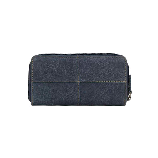 TrueLu Riley Leather Wallet in Denim Blue back of wallet at Lufli Boutique