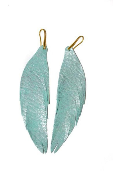 Short Feather Leather Earring - Turquoise Metallic