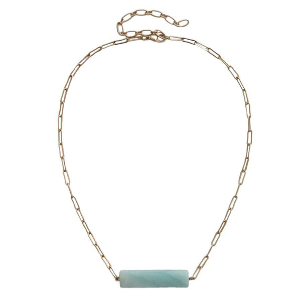 Viviana Natural Stone Necklace - Mint Gold