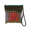 Wabags JJ Vintage Cross Stitch Leather Clutch in Green back of bag at Lufli Boutique