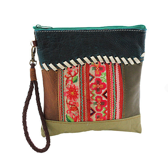 Wabags JJ Vintage Cross Stitch Leather Clutch in Green front of bag at Lufli Boutique!