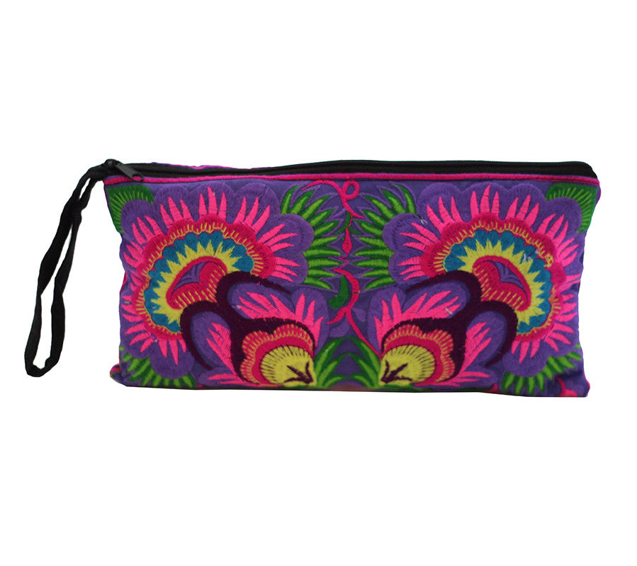 Wabags Artisan Medium Embroidered Wristlet in purple front of wristlet at Lufli Boutique