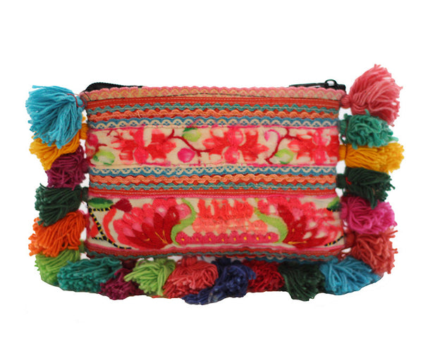 Wabags Vintage Medium Cha Cha Pom Pom Clutch Pouch Front of Bag at Lufli.com